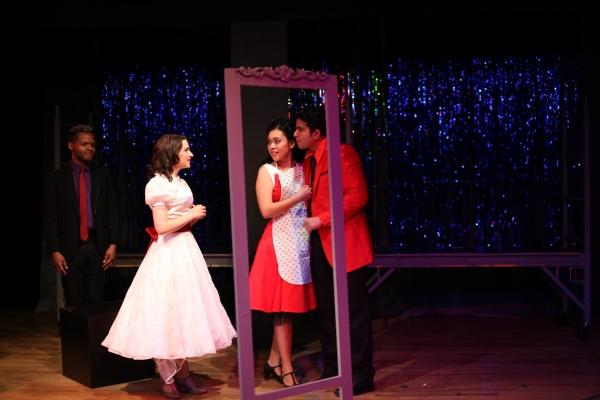 Bridal Shop: L-R Juan Gabriel Landrau as Chino, Lianne Gennaco as Maria, Lora Nicolas as Anita, Adrian Miranda as Bernardo