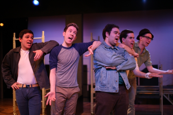 ''Gee, Officer Krupke'': Jet boys L-R: James Dirck as Snowboy, Sean Dearing as Baby John, Leo Contrino as Action, Michael Damato as A-Rab, and Cole Tucker as Big Deal