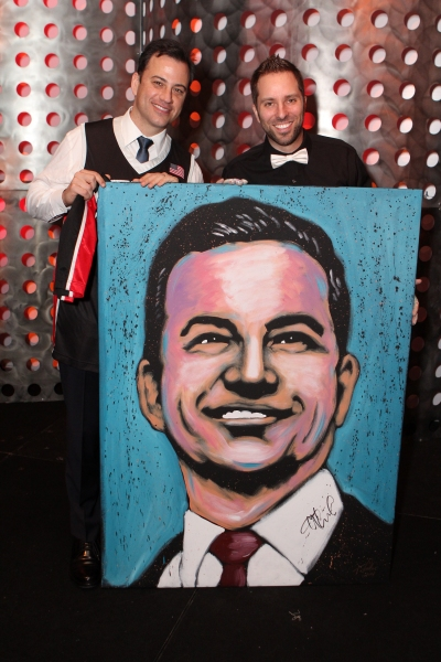 "Jimmy Kimmel poses with speed painter, Tim Decker, and his portrait at �""An Evening with Dave Rice"""