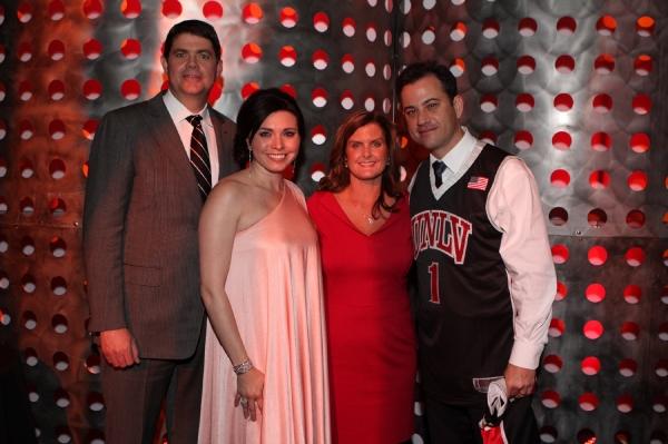 "UNLV Runnin' Rebels head coach, Dave Rice, Dr. Nicole Cavanagh, Mindy Rice and Jimmy Kimmel at â€Å""An Evening with Dave Riceâ€Â�"