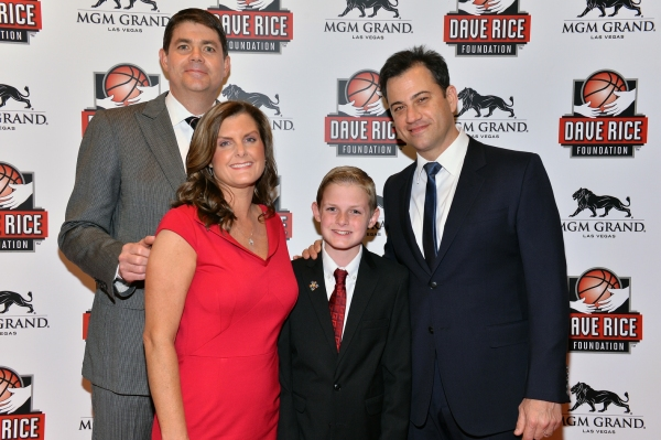 "UNLV Runnin' Rebels head coach, Dave Rice, Mindy Rice, Dylan Rice and Jimmy Kimmel at �""An Evening with Dave Rice"""