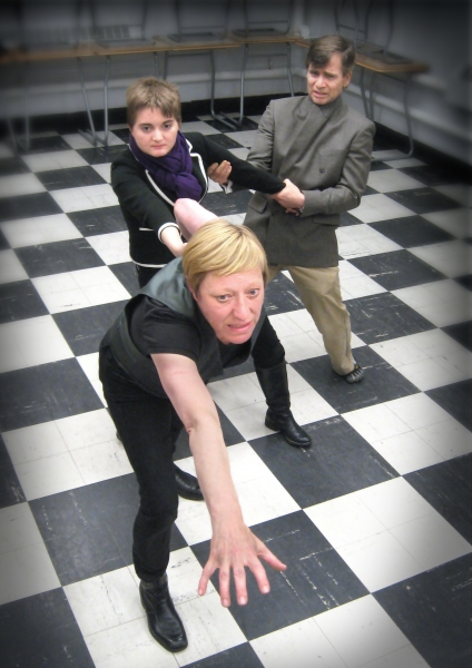Karen Ball as Hamlet, Jessica Labbe as Hamlet, and Tom Wallace