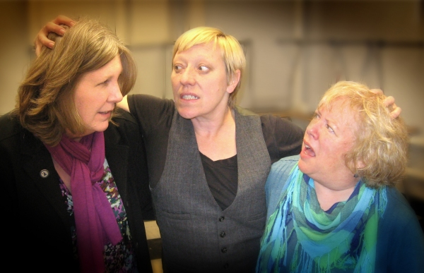 Karen Ball as Hamlet, Marketa Edwards and Brenda Chandler as Rosencrantz and Guildenstern