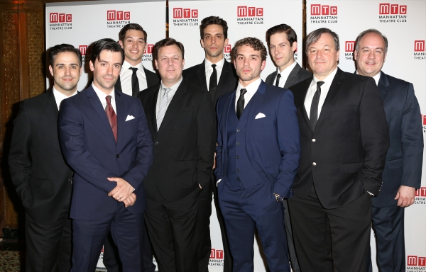 Brooks Ashmanskas and Nick Cordero with the cast of ''Bullets Over Broadway''