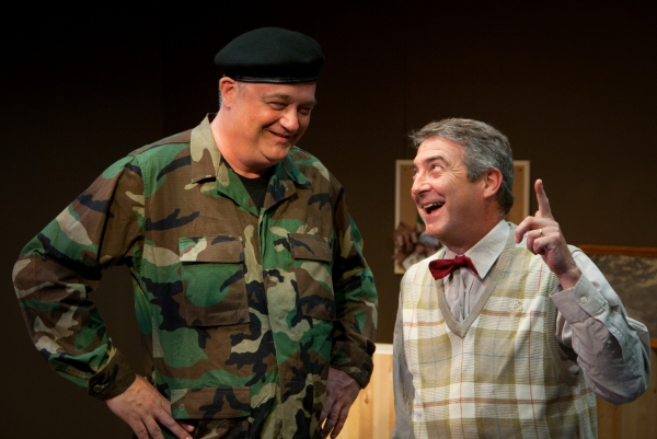 (L to R): Michael Stuart and David Stahl in Austin Playhouse''s production of THE FOREIGNER.  Photo by Christopher Loveless.