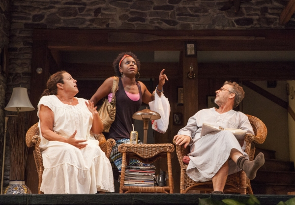 Marcia DeBonis as Sonia, Haneefah Wood as Cassandra, and Martin Moran as Vanya