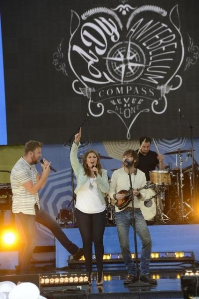 GOOD MORNING AMERICA - Lady Antebellum - Hillary Scott, Charles Kelley and Dave Haywood - kicks off the GMA Summer Concert Series in Central Park, on GOOD MORNING AMERICA, 5/23/14, airing on the ABC Television Network.   (ABC/Ida Mae Astute)  LADY ANTEBEL