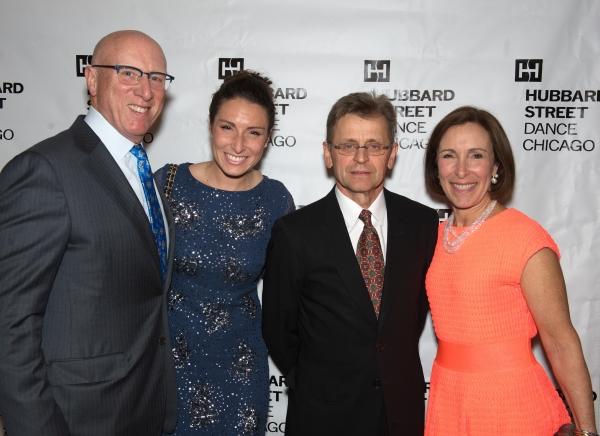Tim Callahan, Jessie Callahan, Mikhail Baryshnikov, and Meg Siegler Callahan, chair of Hubbard Street's board of directors