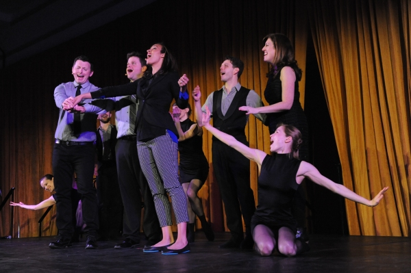 Performers in Hubbard Street + The Second City's collaboration, from left: Alice Klock (kneeling), Tim Mason, Joey Bland, Tawny Newsome (center), Kellie Epperheimer, Kevin J. Shannon, Kate James and, far right, Emilie Leriche