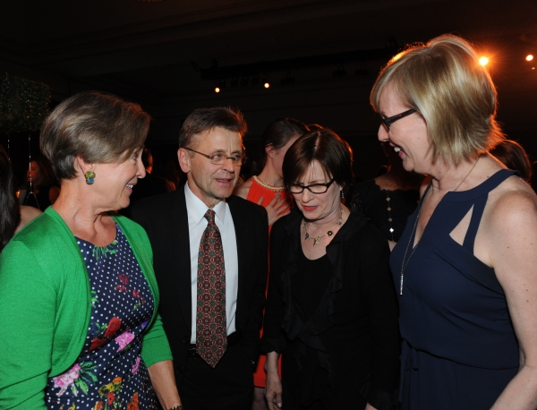 Mikhail Baryshnikov with founding Hubbard Street Dancers Ann Hodgkins Curley, left, Claire Bataille, middle, and Karen Frankel Jones
