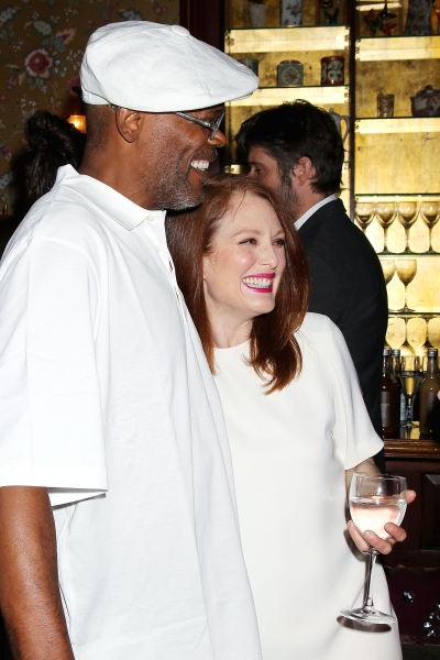 -New York, NY - 5/27/14 - Julianne Moore Host a Afternoon Tea honoring LaTanya Richardson Jackson for her 2014 Tony Award Nominee for Best Actress in a Play For her performance in â�¿��¿�A Raisin in the Sunâ�¿��¿�  -PICTURED: Samuel L. Jackson and Julia