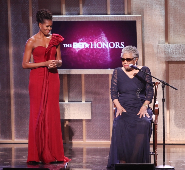 Michelle Obama & Maya Angelou.onstage during the BET Honors 2012 at the Warner Theatre on January 14, 2012 in Washington, DC.