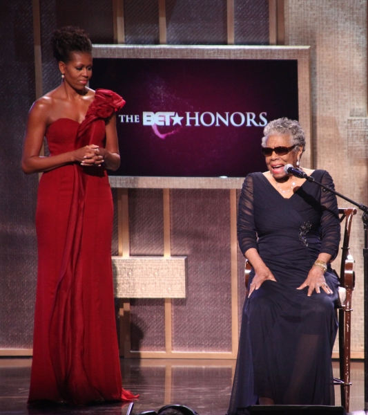 Michelle Obama with Maya Angelou on stage during the BET Honors 2012 at the Warner Theatre on January 14, 2012 in Washington, DC.