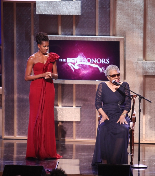 Michelle Obama & Maya Angelou on stage during the BET Honors 2012 at the Warner Theatre on January 14, 2012 in Washington, DC.