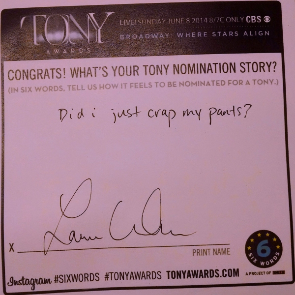 Photo Flash: Six-Word Memoirs from the 2014 Tony Noms