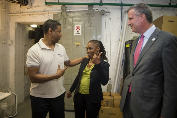 Denzel Washington, First Lady Chirlane McCray and Mayor Bill de Blasio