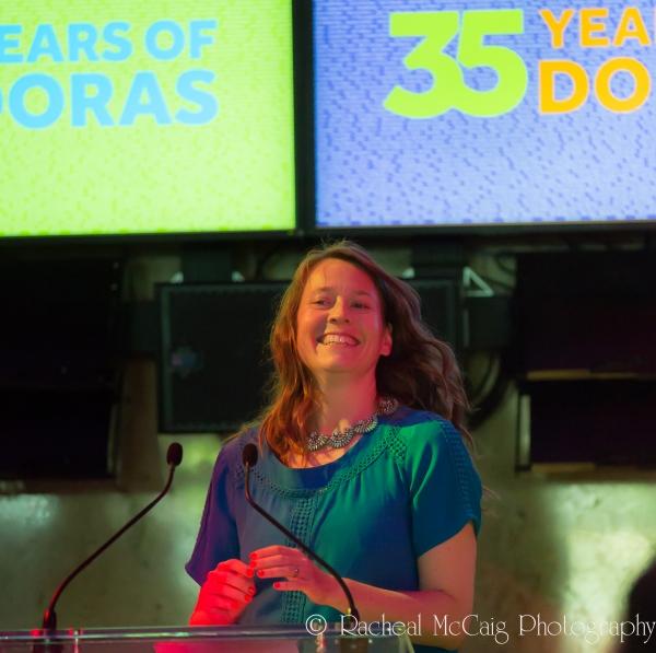 Meredith Potter receiving the Leonard McHardy and John Harvey Award