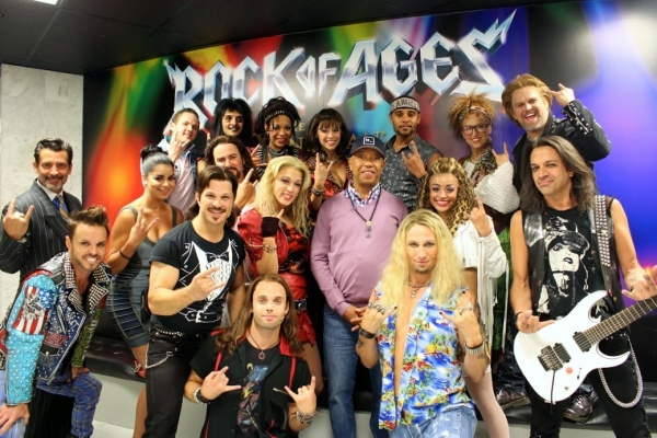 Def Jam co-founder, Russell Simmons, with the Cast of ROCK OF AGES Photo