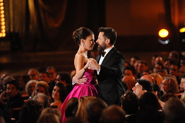 THE 68TH ANNUAL TONY AWARDS, broadcast live from Radio City Music Hall, Sunday, June 8 (8:00-11:00 PM, live ET/ delayed PT) on the CBS Television Network. Golden Globe and Tony Award-winning actor Hugh Jackman hosts. Pictured: Sutton Foster and Hugh Jackm