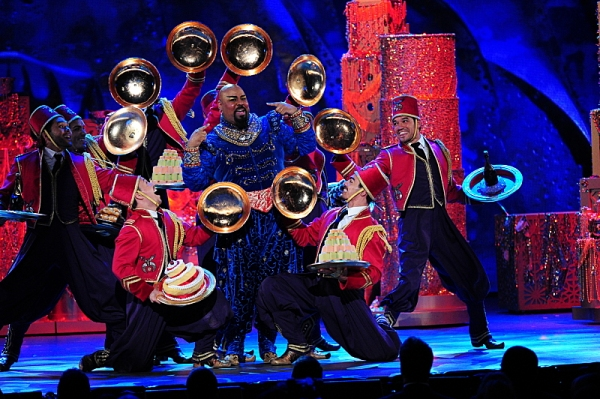 THE 68TH ANNUAL TONY AWARDS, broadcast live from Radio City Music Hall, Sunday, June 8 (8:00-11:00 PM, live ET/ delayed PT) on the CBS Television Network. Golden Globe and Tony Award-winning actor Hugh Jackman hosts. Pictured: the cast of Aladdin Photo: H