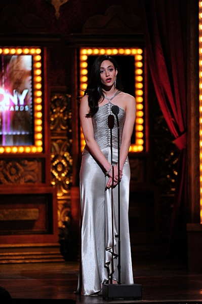 THE 68TH ANNUAL TONY AWARDS, broadcast live from Radio City Music Hall, Sunday, June 8 (8:00-11:00 PM, live ET/ delayed PT) on the CBS Television Network. Golden Globe and Tony Award-winning actor Hugh Jackman hosts. Pictured: Emmy Rossum Photo: Heather W