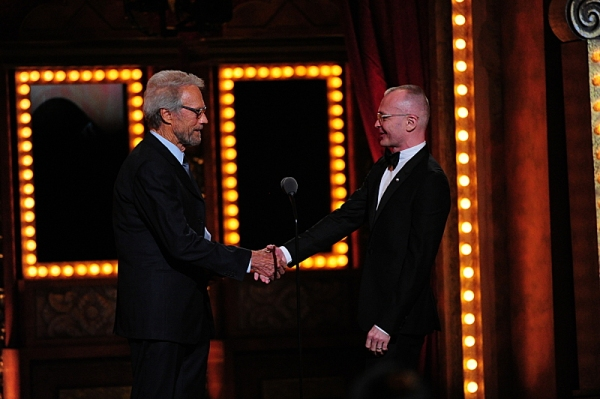 THE 68TH ANNUAL TONY AWARDS, broadcast live from Radio City Music Hall, Sunday, June 8 (8:00-11:00 PM, live ET/ delayed PT) on the CBS Television Network. Golden Globe and Tony Award-winning actor Hugh Jackman hosts. Pictured L-R: Clint Eastwood and winne