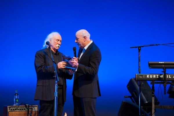 David Crosby is presented award by Charles Fox