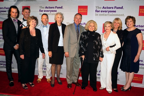 Actors Fund''s Western Council with hosts and honoree (lft to rt: Constantine Maroulis, B. Harlan Boll, JoMarie Ward, David Rambo, Barbara Allyne Bennet, John Holly, Barbara Cook, Florence Henderson, Ilene Graff and Ilyanne Morden Kichaven)