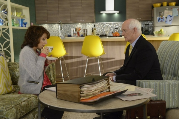 WORKING THE ENGELS -- ''Pilot'' Episode 101 -- Pictured: (l-r) Andrea Martin as Ceil Engel, Colin Mochrie as Myas -- (Photo by: Steve Wilkie/NBC)