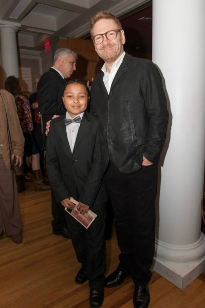 Sir Kenneth Branagh with Jayson Polanco (Hamlet in the Hunts Point Children''s Shakespeare Ensemble)