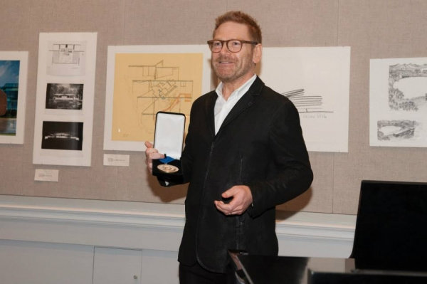 Sir Kenneth Charles Branagh with The Shakespeare Medal for Richard Easton