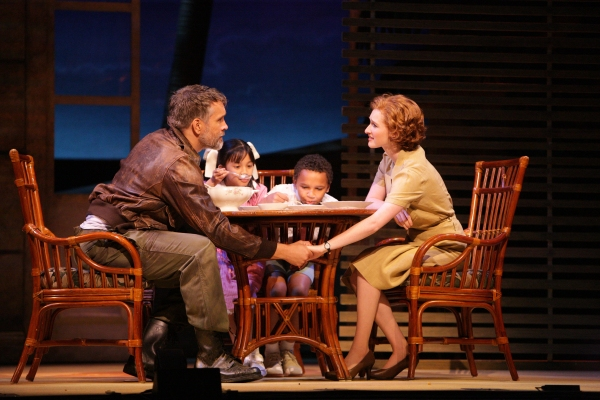 Emile de Becque (Mike McGowan) shares a quiet moment with Nellie Forbush (Erin Mackey) and his children (Sage Belen Goco, Camdin Hardyway)