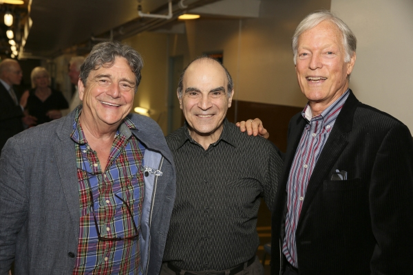 From left, cast members Richard O''Callaghan and David Suchet pose with actor Richard Chamberlain backstage after the opening night performance of ''The Last Confession'' at the Center Theatre Group/Ahmanson Theatre on Wednesday, June 11, 2014, in Los Ang