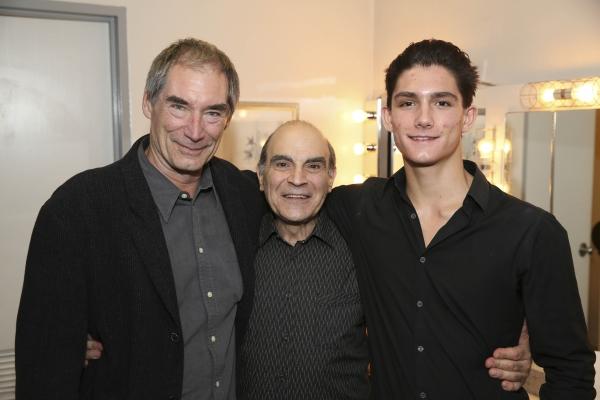 From left, actor Timothy Dalton, cast member David Suchet and Alexander Dalton pose b Photo
