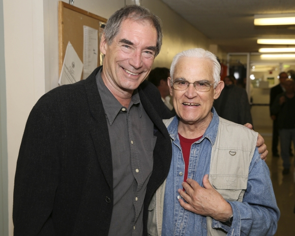 From left, actor Timothy Dalton and Bernard Lloyd pose backstage after the opening ni Photo