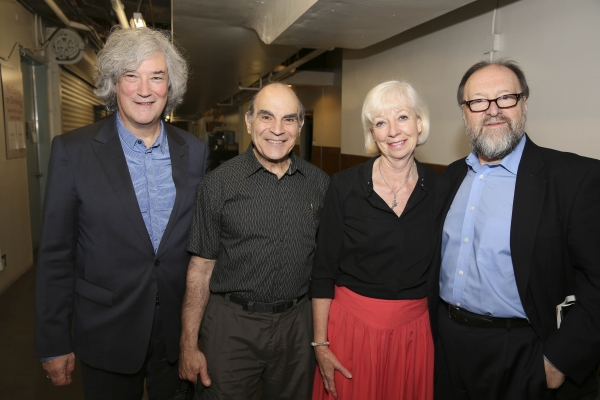 From left, producer Karl Sydow, cast members David Suchet and Sheila Ferris and producer Duncan C. Weldon pose backstage after the opening night performance of ''The Last Confession'' at the Center Theatre Group/Ahmanson Theatre on Wednesday, June 11, 201