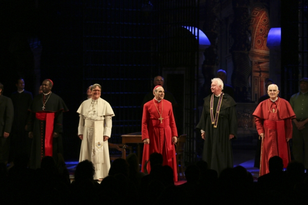 From left, cast members Roy Lewis, Richard O''Callaghan, David Suchet, Philip Craig and Bernard Lloyd take their bows during the curtain call for the opening night performance of ''The Last Confession'' at the Center Theatre Group/Ahmanson Theatre on Wedn