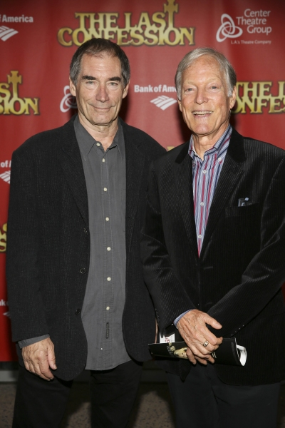 From left, actors Timothy Dalton and Richard Chamberlain pose during the arrivals for the opening night performance of ''The Last Confession'' at the Center Theatre Group/Ahmanson Theatre on Wednesday, June 11, 2014, in Los Angeles, Calif. (Photo by Ryan