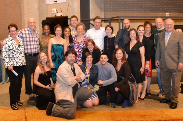 Artistic Director Molly Smith and George Washington University President Steven Knapp with the company of Healing Wars at the opening night celebration at Arena Stage at the Mead Center for American Theater June 12, 2014.