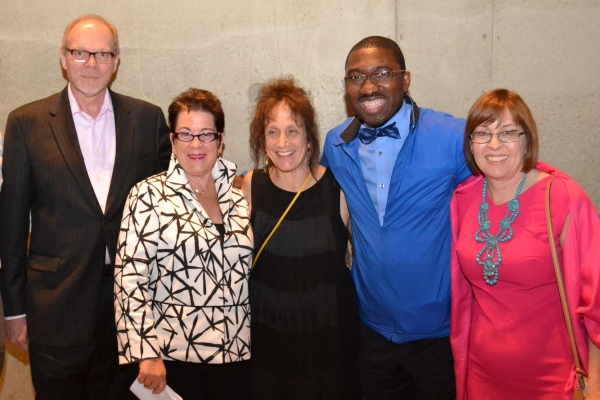 (L to R) Executive Producer Edgar Dobie, Artistic Director Molly Smith, director and choreographer Liz Lerman, CenterStage Artistic Director Kwame Kwei-Armah and George Washington University's Barbara Porter at the opening night celebration for Healing