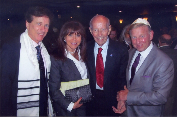 Rabbi David Baron, Adrienne Baron, Curt Lowens and  James Blatt at An International Evening of Music and Remembrance celebrating   the Voices of Holocaust Survivors through a performance of Sharon Farber's   Bestemming: Concerto for Cello, Orchestr