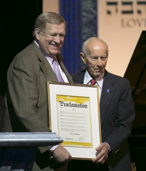 Ken Howard, President of SAG-AFTRA presents a proclamation on  behalf of SAG-AFTRA to Holocaust survivor and hero of the Dutch Resistance  Curt Lowens at An International Evening of Music and Remembrance celebrating   the Voices of Holocaust Survivors thr