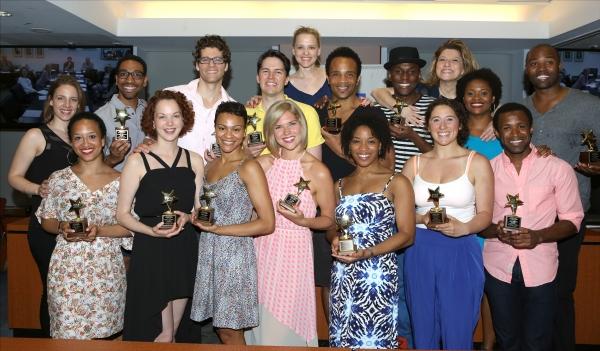 Jessie Mueller, Anika Larsen and Liz Larsen with ''Beautiful'' Ensemble chorus winners