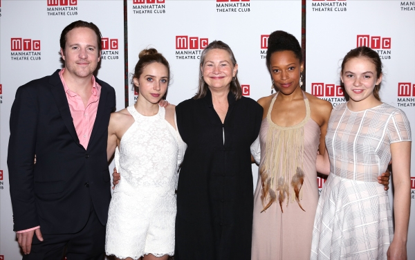 Patch Darragh, Zoe Kazan, Cherry Jones, Cherise Boothe and Morgan Saylor attends the Opening Night After Party for the Manhattan Theatre Club''s  ''When We Were Young and Afraid''  at Brasserie 8 1/2 on June 17, 2014 in New York City.