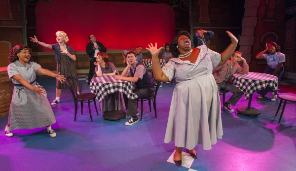 Jasmine Harris as Lorraine, Debra Thais Evans as Sylvia and the cast perform ''Heartbreak Hotel'' in Cortland Repertory Theatre''s ''All Shook Up''.