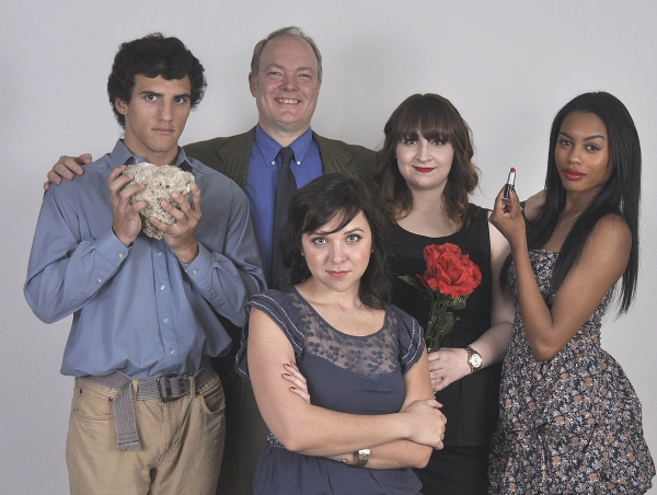 Left to right in back:  David Scott as Henry Antrobus (the son), Bill Claussen as George Antrobus (the dad),  Taylor Pasche as Maggie Antrobus (the mother), Britley Bennett as Gladys Antrobus (the daughter). Seated, Kimberlyn Clark as Sabina (the maid/vam