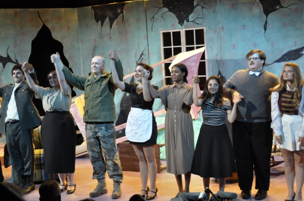 Cast members left to right: David Scott, Taylor Pasche, Bill Claussen, Kimberlyn Clark, Britley Bennett, Kristen Mancha, James Springer, Kat Stingley.  Photo by Tom Brown.