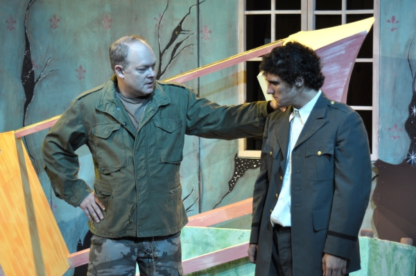 George Anrobus (Bill Claussen) reconciles with his son Henry (David Scott), who has returned from a war.  Photo by Tom Brown.