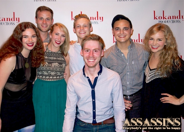ASSASSINS castmembers Andrew Sickel, Cole Doman, Jeff Meyer, and Alex Heika, with actress Kim Green and friends