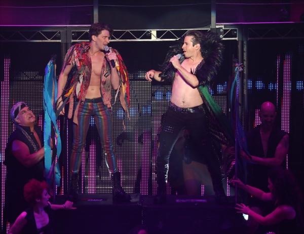 Joey Taranto and Matthew Saldivar with cast  perform in ''Rock Hard!''